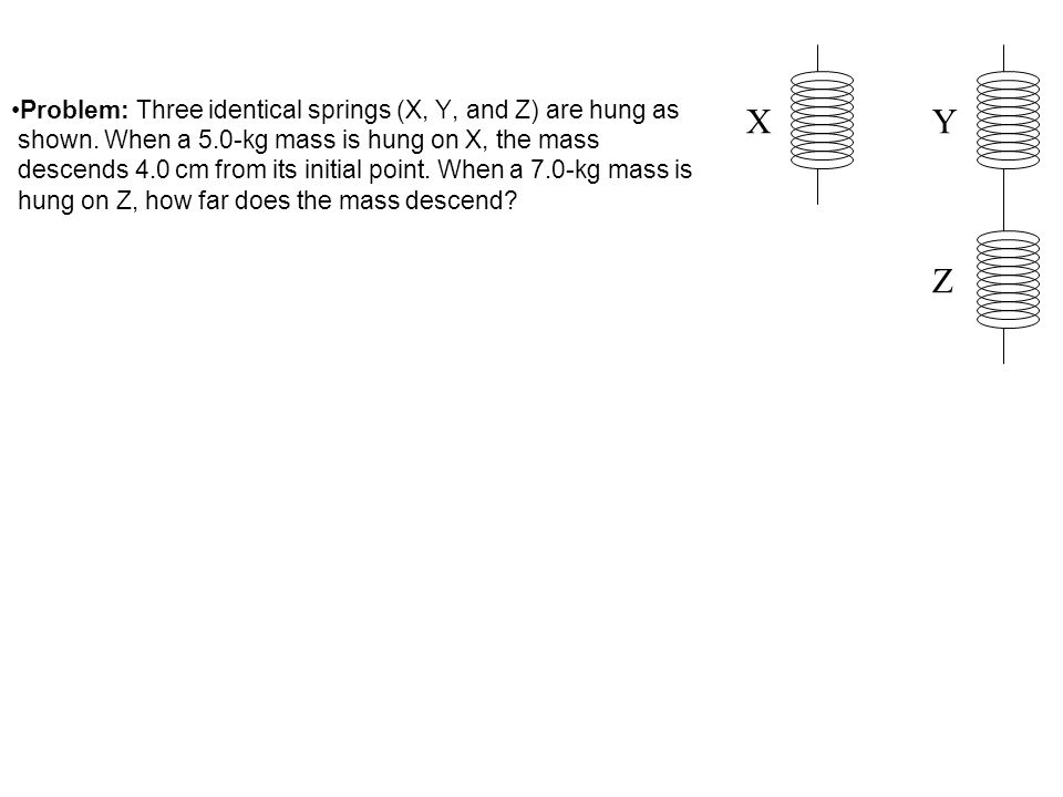Problem: Three identical springs (X, Y, and Z) are hung as shown. When a 5.0-kg mass is hung on X, the mass descends 4.0 cm from its initial point. Wh