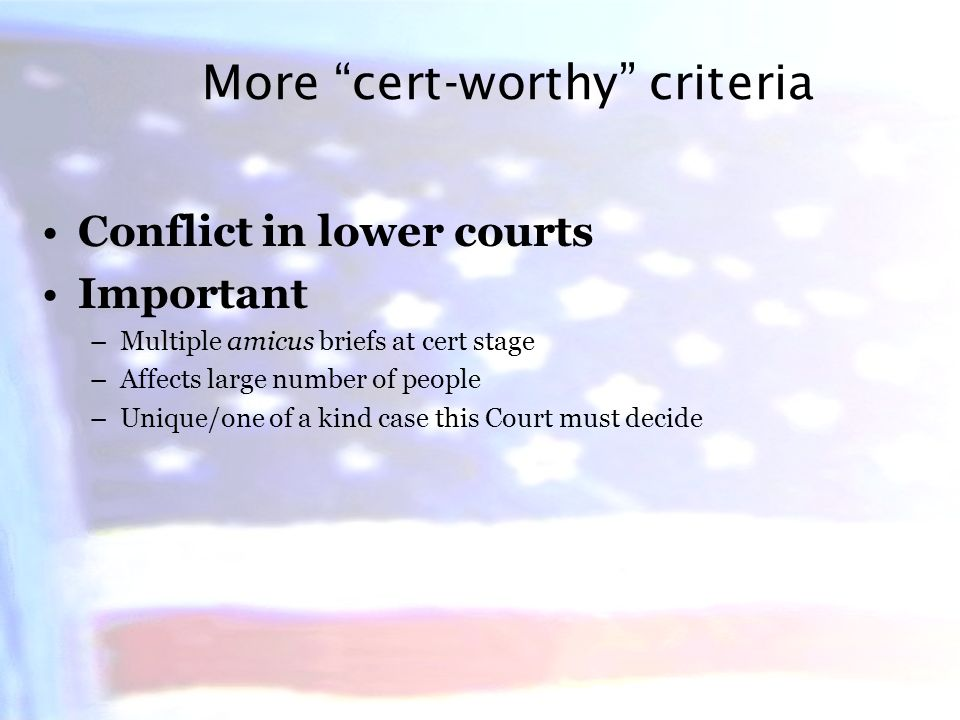 The Rule of Four If four justices vote to grant cert, it is granted Designed to prevent tyranny of the majority If a case does not gain four votes, a justice may write a dissent from denial, but this is extremely rare All votes are secret