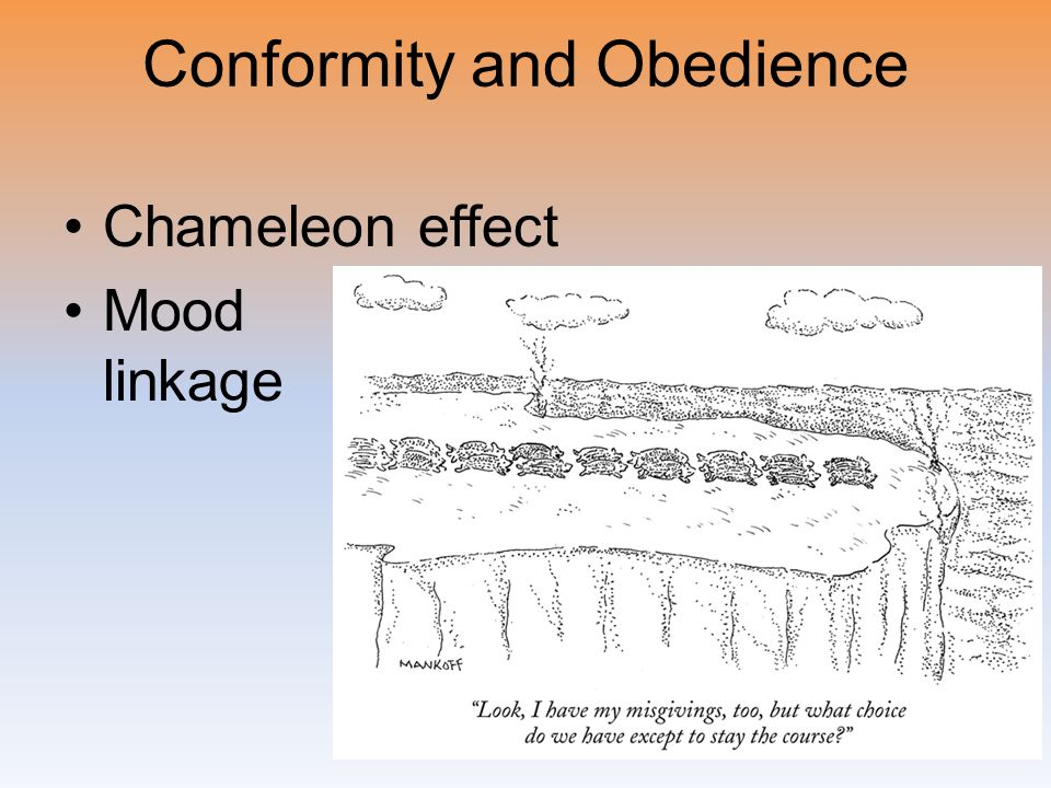 Conformity and Obedience Chameleon effect Mood linkage