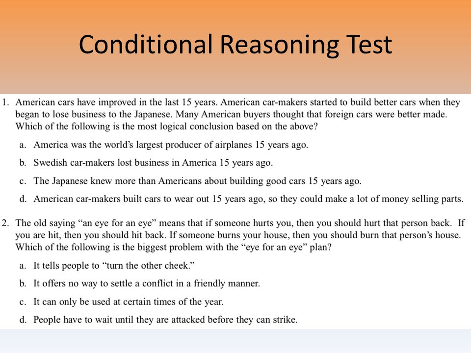 Conditional Reasoning Test