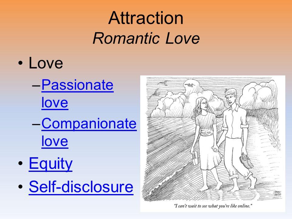 Attraction Romantic Love Love –Passionate lovePassionate love –Companionate loveCompanionate love Equity Self-disclosure