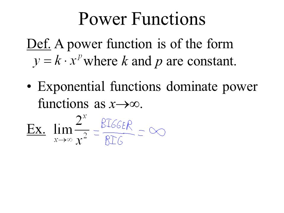 Power Functions Def. A power function is of the form where k and p are constant.