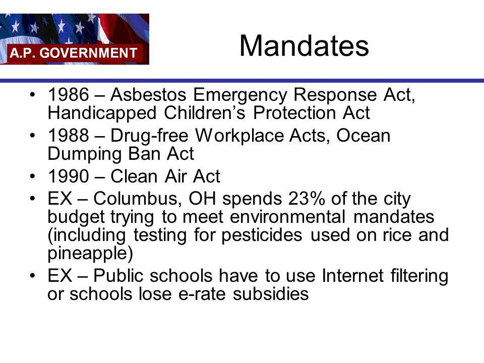 Mandates 1986 – Asbestos Emergency Response Act, Handicapped Childrens Protection Act 1988 – Drug-free Workplace Acts, Ocean Dumping Ban Act 1990 – Cl