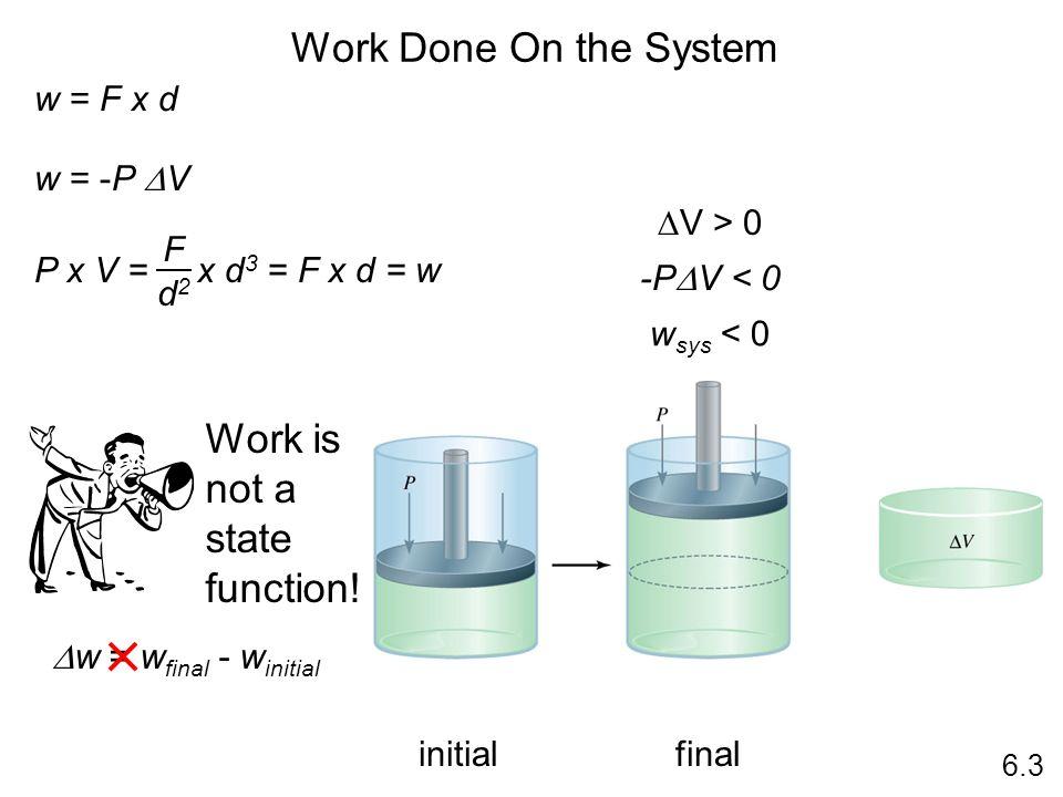 Work Done On the System 6.3 w = F x d w = -P V P x V = x d 3 = F x d = w F d2d2 V > 0 -P V < 0 w sys < 0 Work is not a state function! w = w final - w