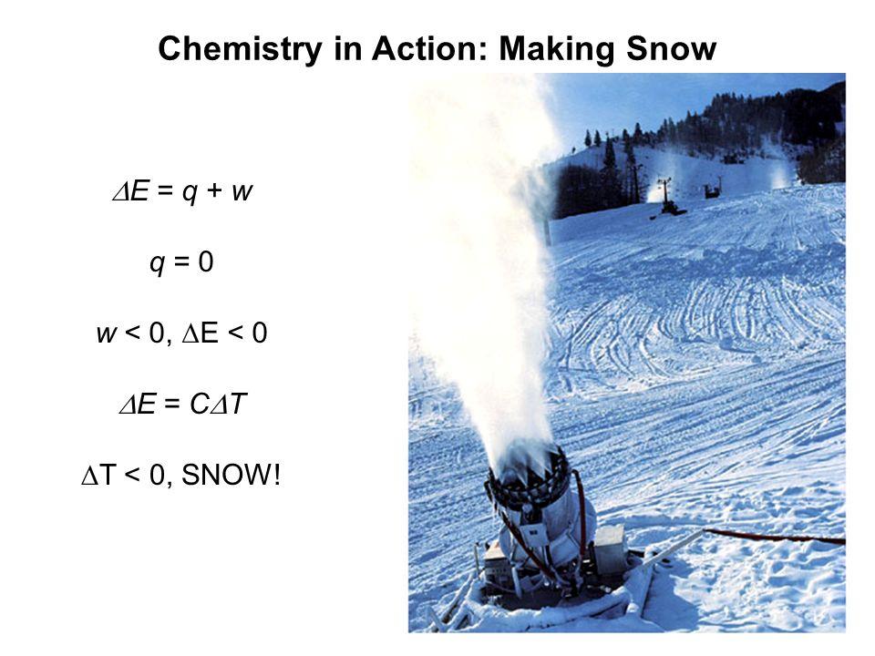 Chemistry in Action: Making Snow E = q + w q = 0 w < 0, E < 0 E = C T T < 0, SNOW!