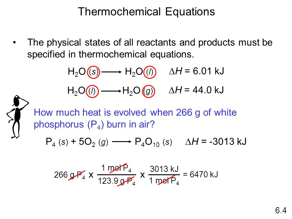 H 2 O (s) H 2 O (l) H = 6.01 kJ The physical states of all reactants and products must be specified in thermochemical equations. Thermochemical Equati