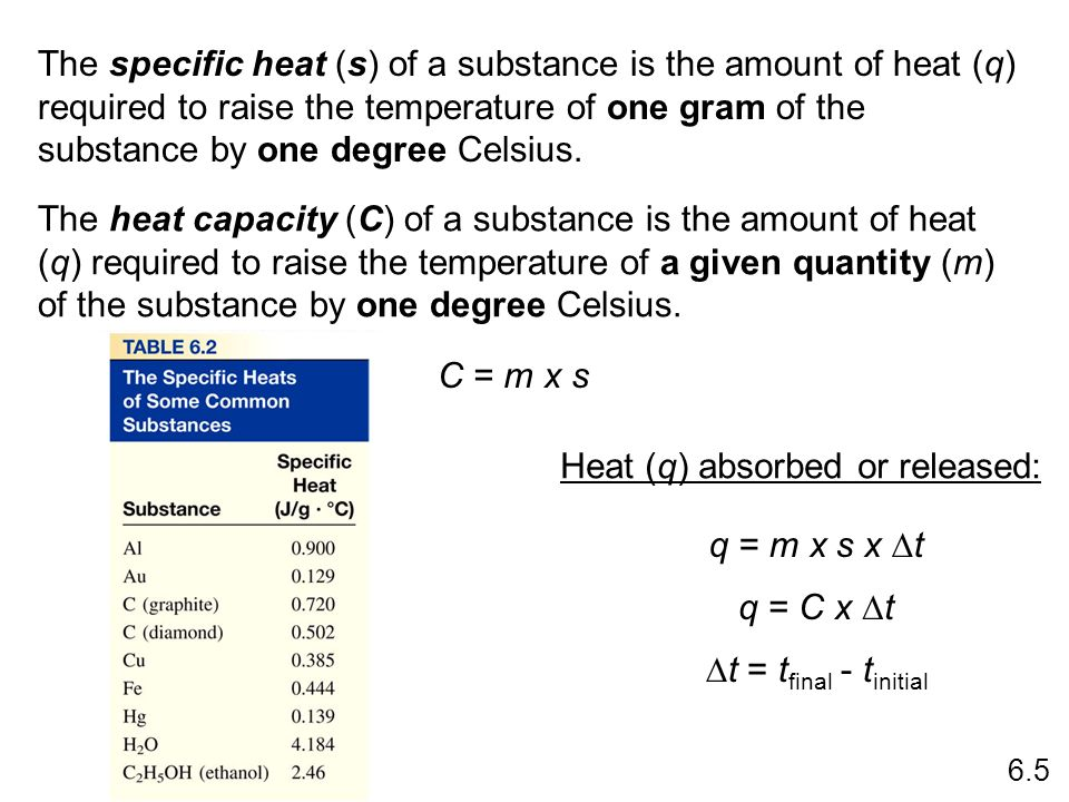 The specific heat (s) of a substance is the amount of heat (q) required to raise the temperature of one gram of the substance by one degree Celsius. T