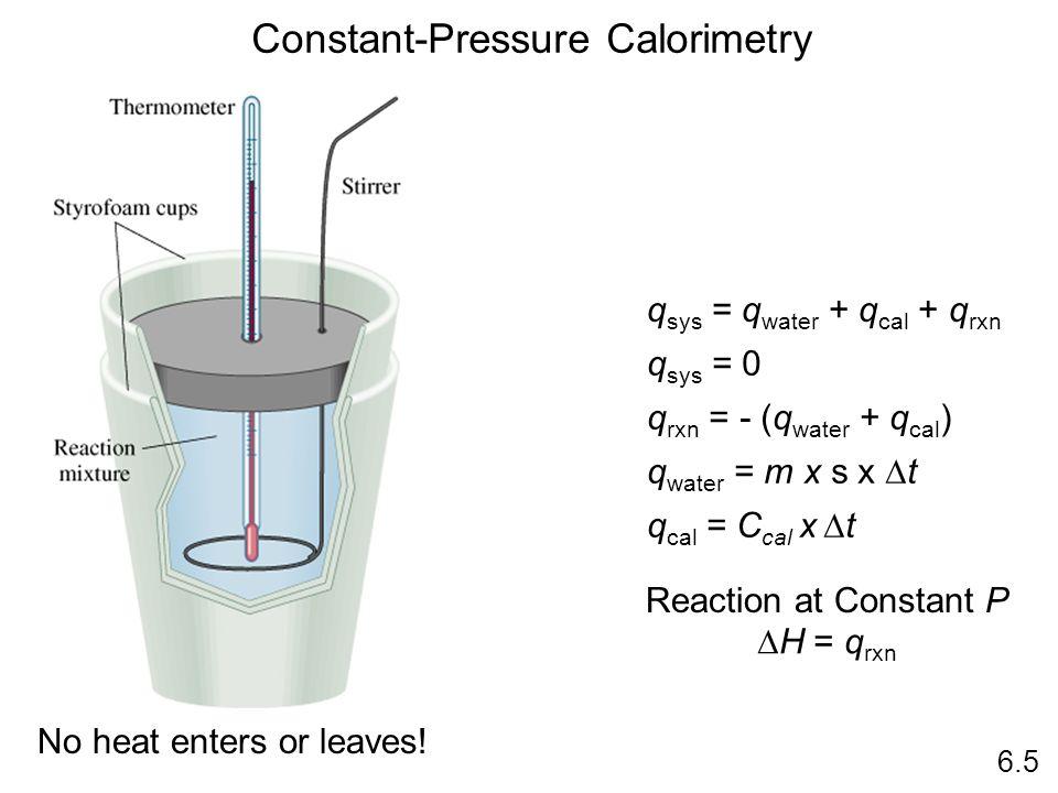 Constant-Pressure Calorimetry No heat enters or leaves! q sys = q water + q cal + q rxn q sys = 0 q rxn = - (q water + q cal ) q water = m x s x t q c