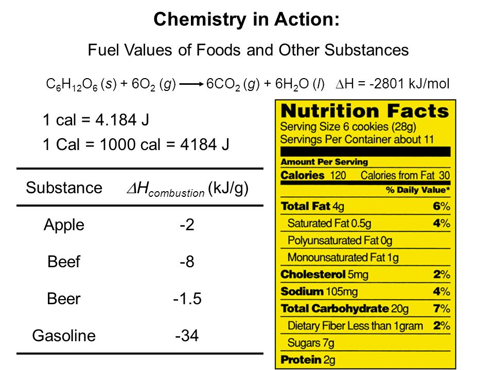 Chemistry in Action: Fuel Values of Foods and Other Substances C 6 H 12 O 6 (s) + 6O 2 (g) 6CO 2 (g) + 6H 2 O (l) H = -2801 kJ/mol 1 cal = 4.184 J 1 C