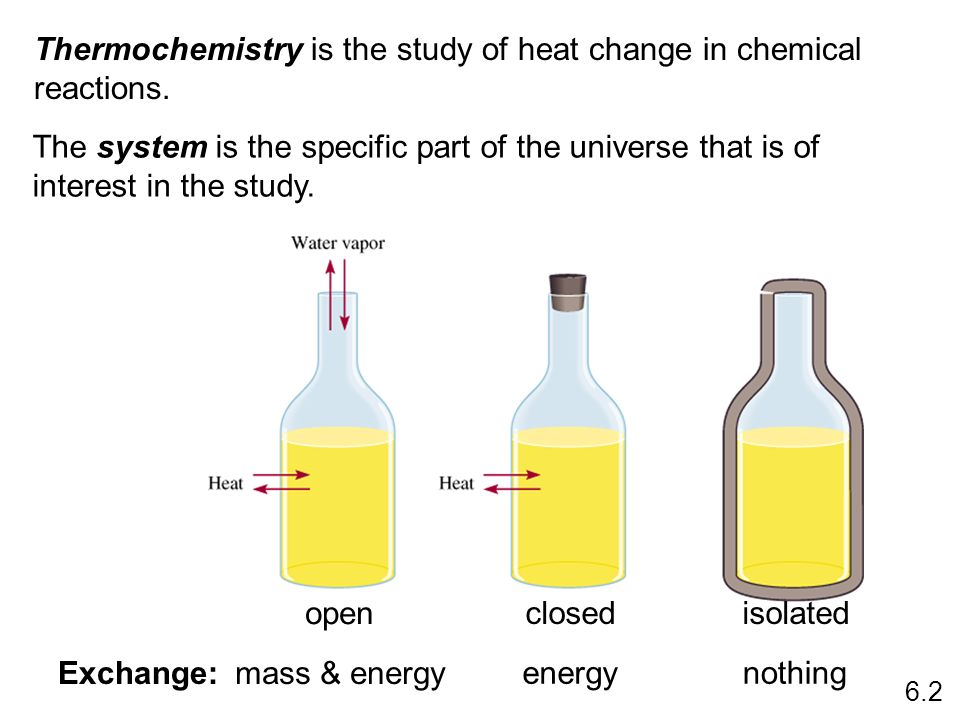 Thermochemistry is the study of heat change in chemical reactions. The system is the specific part of the universe that is of interest in the study. o