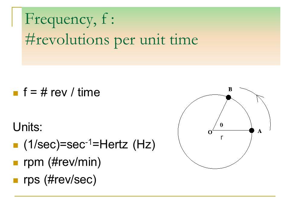 Frequency, f : #revolutions per unit time f = # rev / time Units: (1/sec)=sec -1 =Hertz (Hz) rpm (#rev/min) rps (#rev/sec) r
