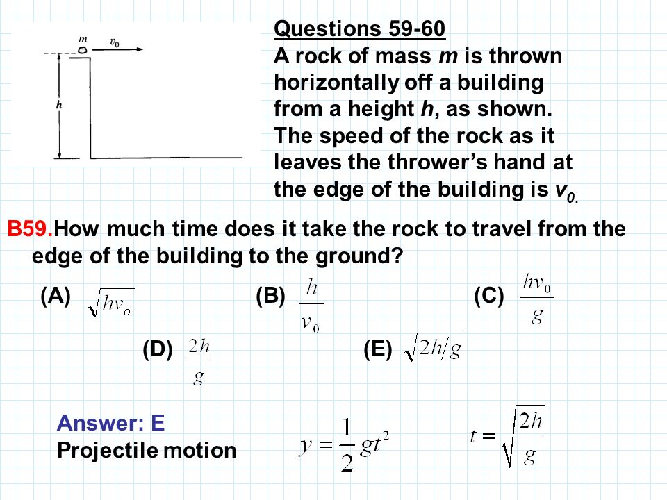 Questions 59 60 A rock of mass m is thrown horizontally off a building from a height h, as shown. The speed of the rock as it leaves the throwers hand