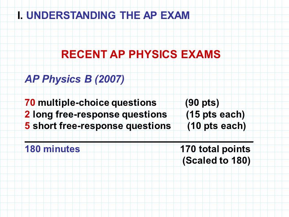 RECENT AP PHYSICS EXAMS AP Physics B (2007) 70 multiple-choice questions (90 pts) 2 long free-response questions (15 pts each) 5 short free-response q