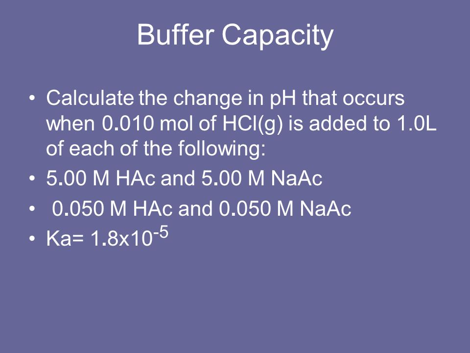 Buffer Capacity Calculate the change in pH that occurs when 0.010 mol of HCl(g) is added to 1.0L of each of the following: 5.00 M HAc and 5.00 M NaAc