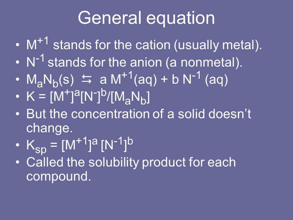 General equation M +1 stands for the cation (usually metal). N -1 stands for the anion (a nonmetal). M a N b (s) a M +1 (aq) + b N -1 (aq) K = [M + ]