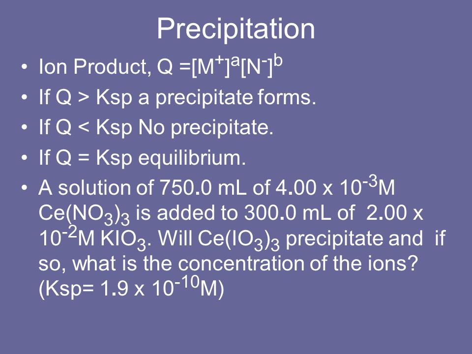 Precipitation Ion Product, Q =[M + ] a [N - ] b If Q > Ksp a precipitate forms. If Q < Ksp No precipitate. If Q = Ksp equilibrium. A solution of 750.0