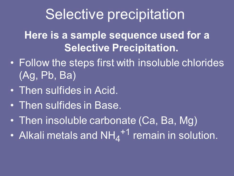 Selective precipitation Here is a sample sequence used for a Selective Precipitation. Follow the steps first with insoluble chlorides (Ag, Pb, Ba) The
