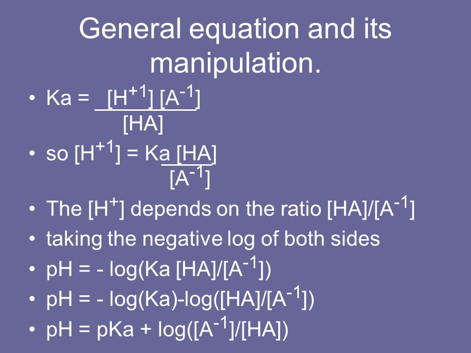 General equation and its manipulation. Ka = [H +1 ] [A -1 ] [HA] so [H +1 ] = Ka [HA] [A -1 ] The [H + ] depends on the ratio [HA]/[A -1 ] taking the