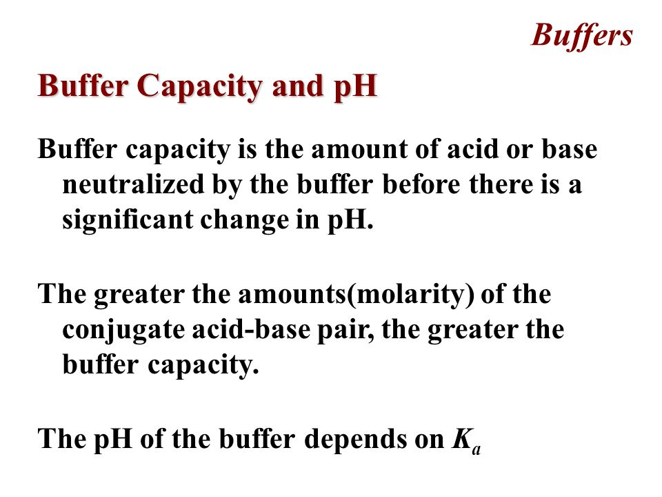 Buffers Action of Buffered Solutions