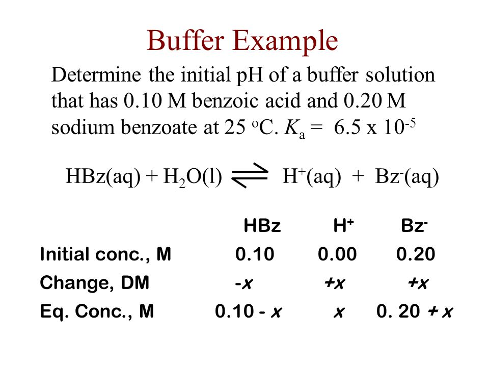 Buffers The final [HX] and [X - ] after the neutralization reaction are used as the initial concentrations for the equilibrium reaction.