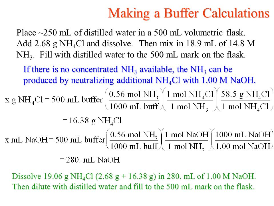 Making a Buffer Calculations Making a Buffer Calculations