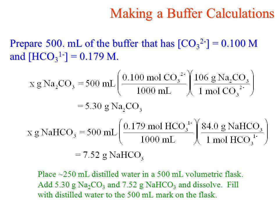 Making a Buffer Calculations Making a Buffer Calculations Prepare 500.