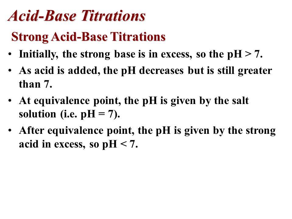 Acid-Base Titrations Strong Acid-Base Titrations Strong Acid-Base Titrations