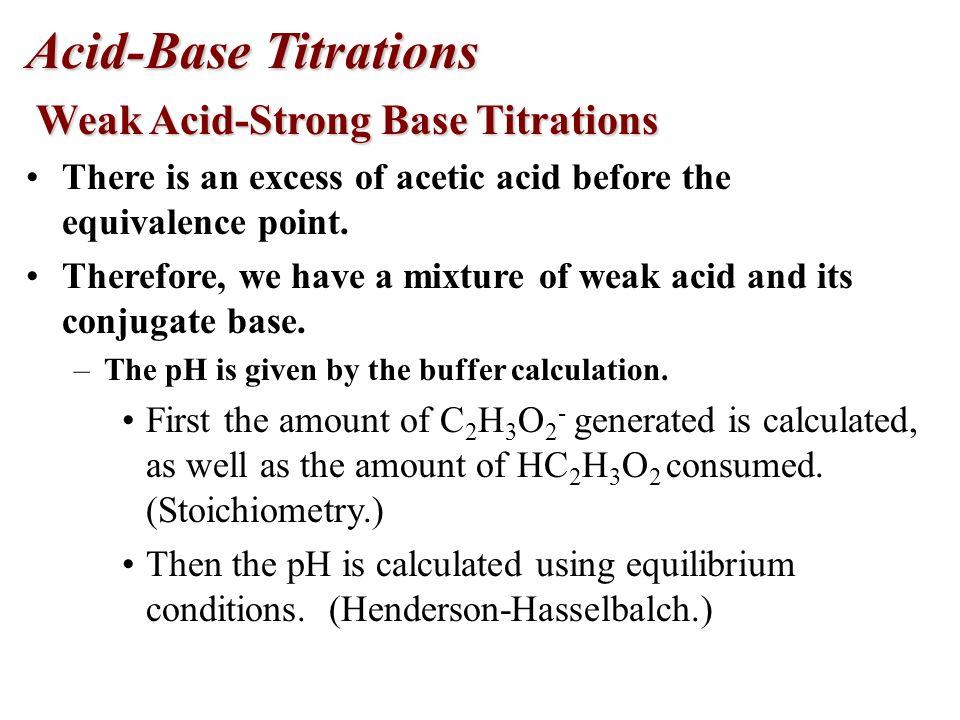 Acid-Base Titrations Weak Acid-Strong Base Titrations Weak Acid-Strong Base Titrations