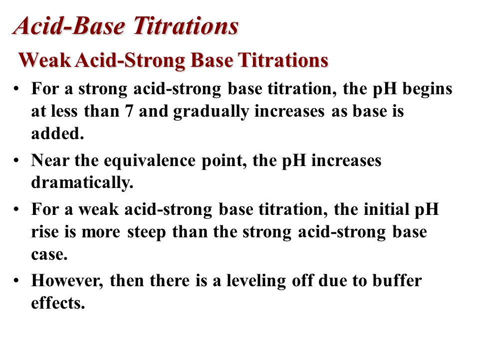 Acid-Base Titrations Weak Acid-Strong Base Titrations Weak Acid-Strong Base Titrations At the equivalence point, all the acetic acid has been consumed