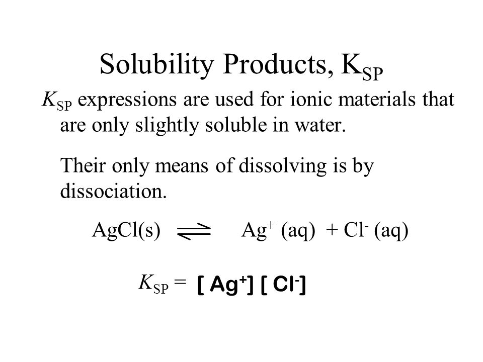 Heterogeneous Equilibria A (s) + H 2 O B (aq) + C (aq) K sp = [B] [C] Why is this not divided by [A]? Why is [H 2 O] not included? Known as the Solubi