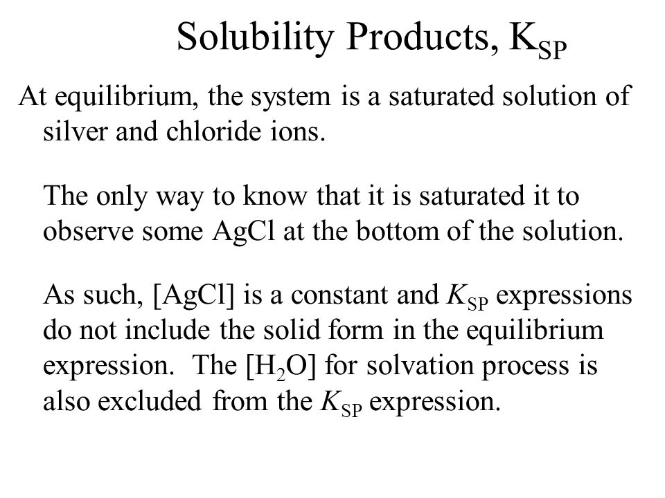 Solubility Products, K SP K SP expressions are used for ionic materials that are only slightly soluble in water. Their only means of dissolving is by