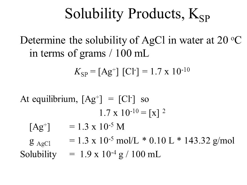 Solubility Products, K SP At equilibrium, the system is a saturated solution of silver and chloride ions.