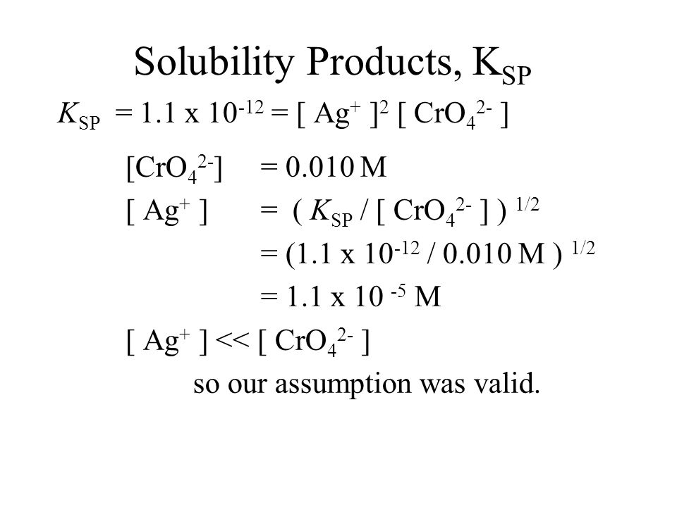 Solubility Products, K SP K SP = 1.1 x 10 -12 = [ Ag + ] 2 [ CrO 4 2- ] [CrO 4 2- ] = [CrO 4 2- ] Ag 2 CrO 4 + [CrO 4 2- ] Na 2 CrO 4 With such a small value for K SP, we can assume that the [CrO 4 2- ] from Ag 2 CrO 4 is negligible.