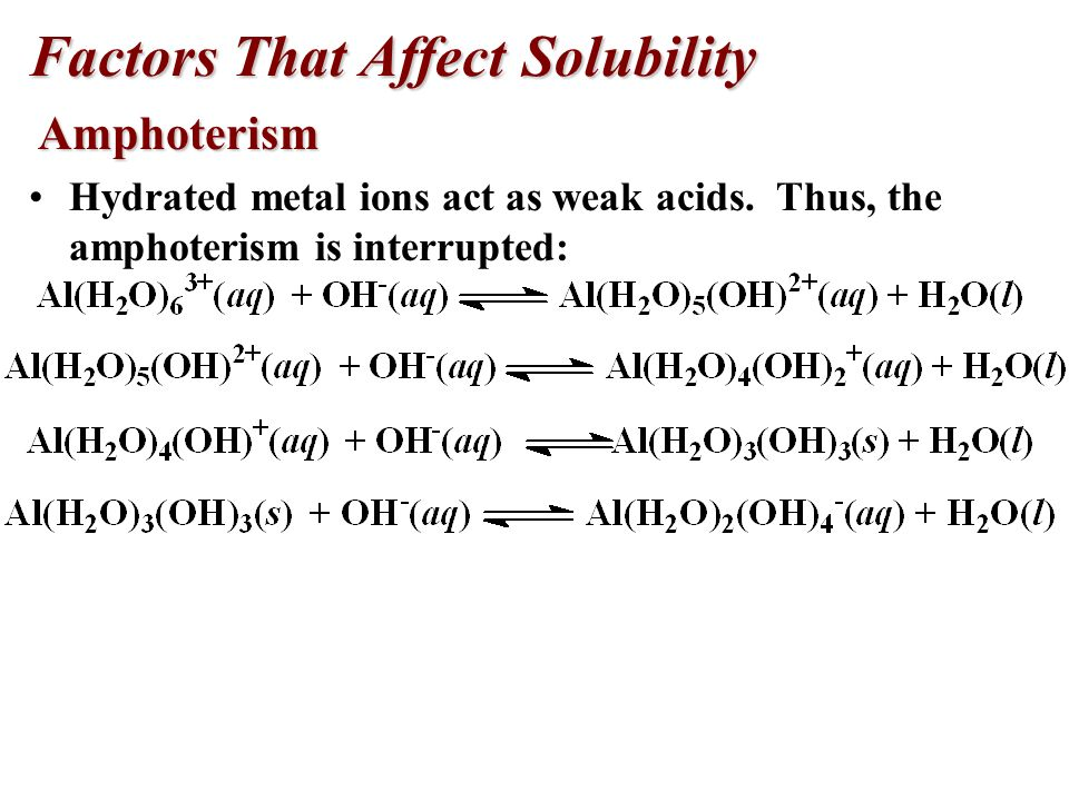 Factors That Affect Solubility Amphoterism Amphoterism Amphoteric oxides will dissolve in either a strong acid or a strong base. Examples: hydroxides