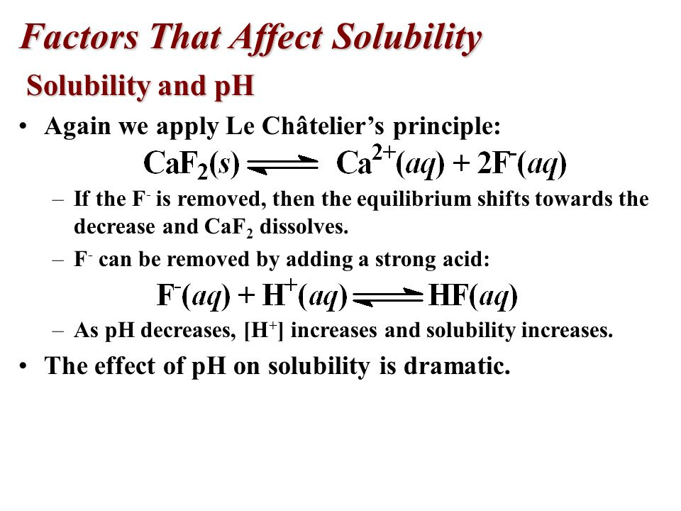 Factors influencing solubility Hydrolysis.
