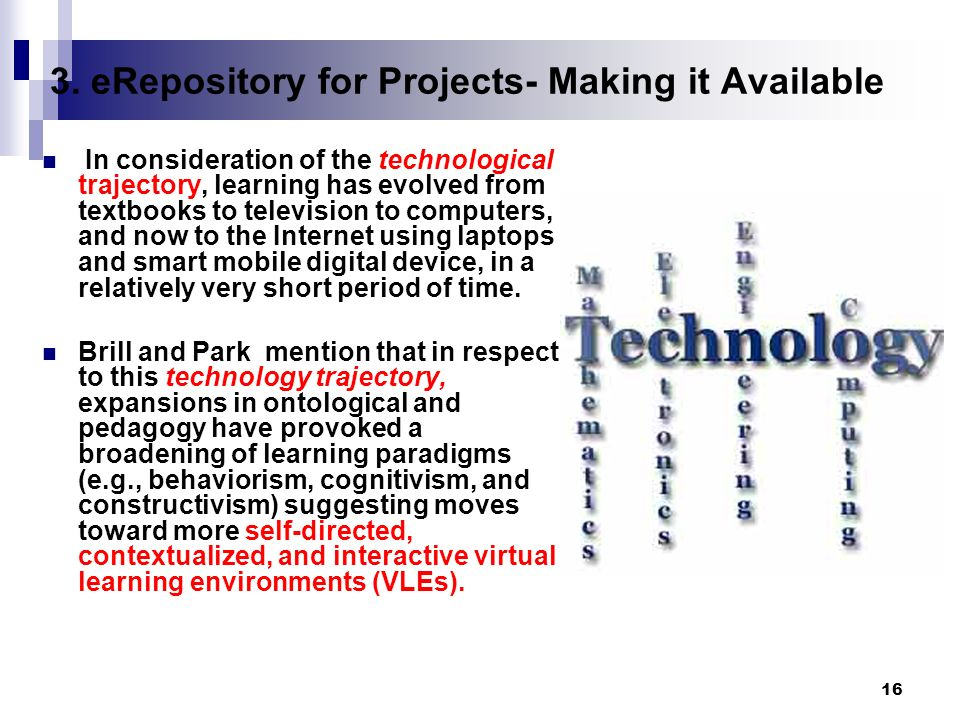 16 3. eRepository for Projects- Making it Available In consideration of the technological trajectory, learning has evolved from textbooks to televisio