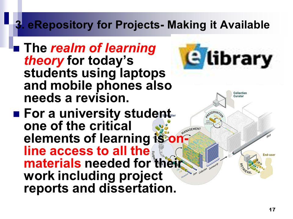 17 3. eRepository for Projects- Making it Available The realm of learning theory for todays students using laptops and mobile phones also needs a revi
