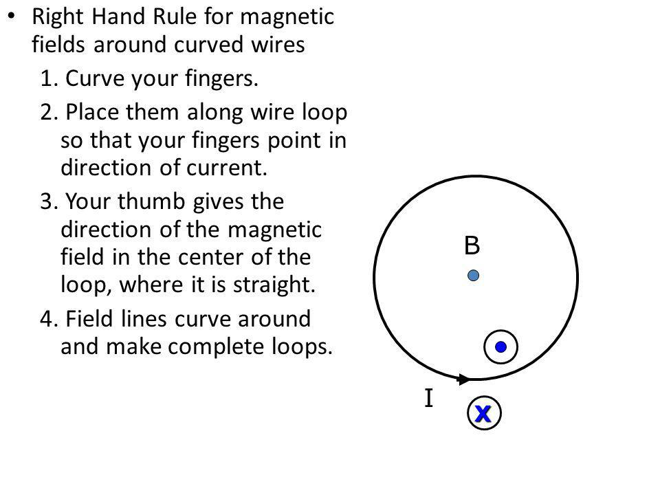 Right Hand Rule for magnetic fields around curved wires 1. Curve your fingers. 2. Place them along wire loop so that your fingers point in direction o