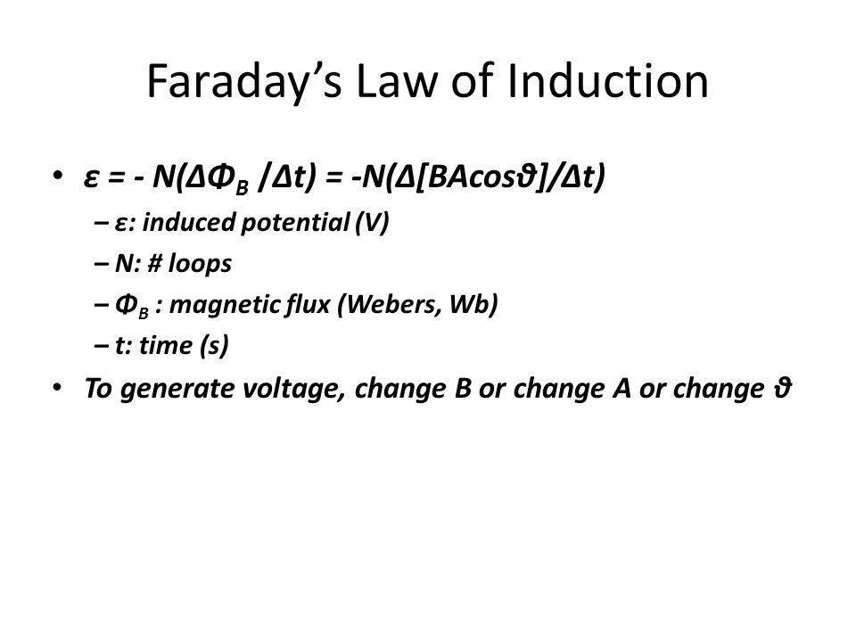 Faradays Law of Induction ε = - N(ΔΦ B /Δt) = -N(Δ[BAcosθ]/Δt) – ε: induced potential (V) – N: # loops – Φ B : magnetic flux (Webers, Wb) – t: time (s
