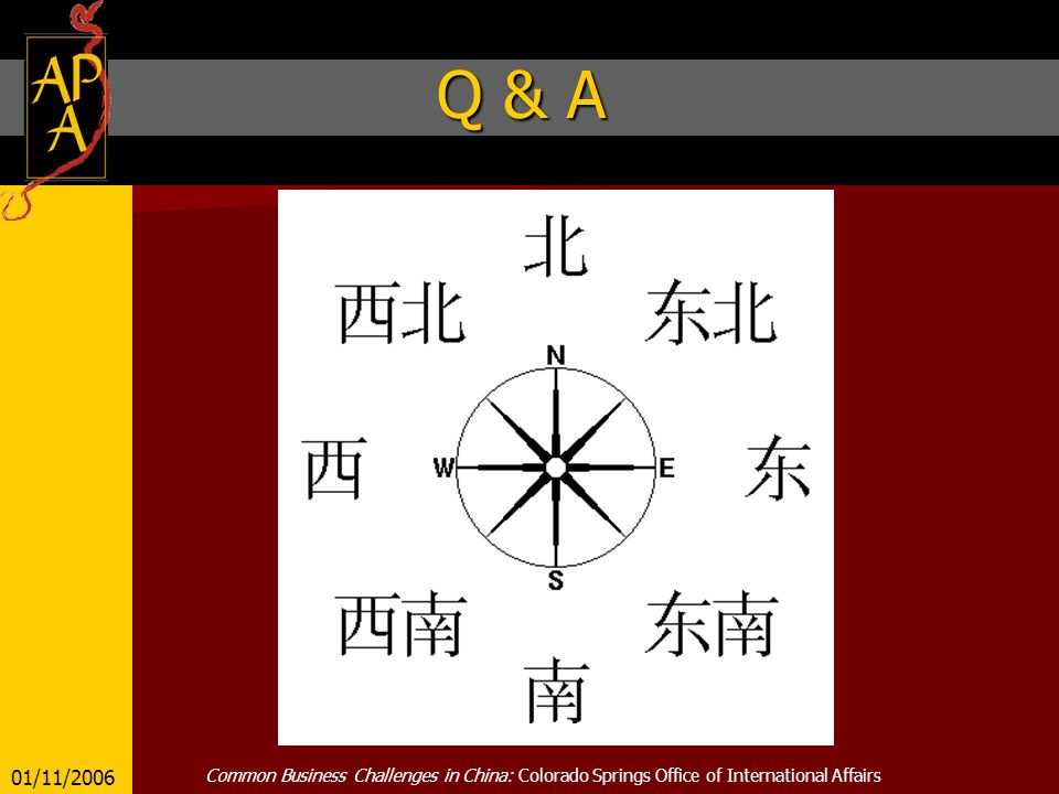 Q & A 01/11/2006 Common Business Challenges in China: Colorado Springs Office of International Affairs