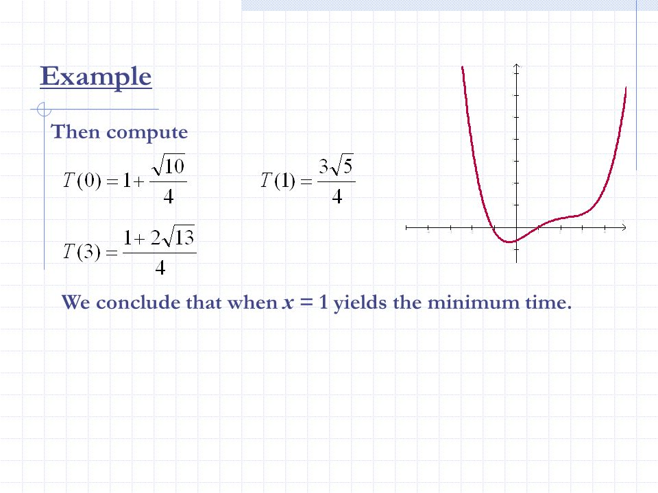 Then compute Example We conclude that when x = 1 yields the minimum time.