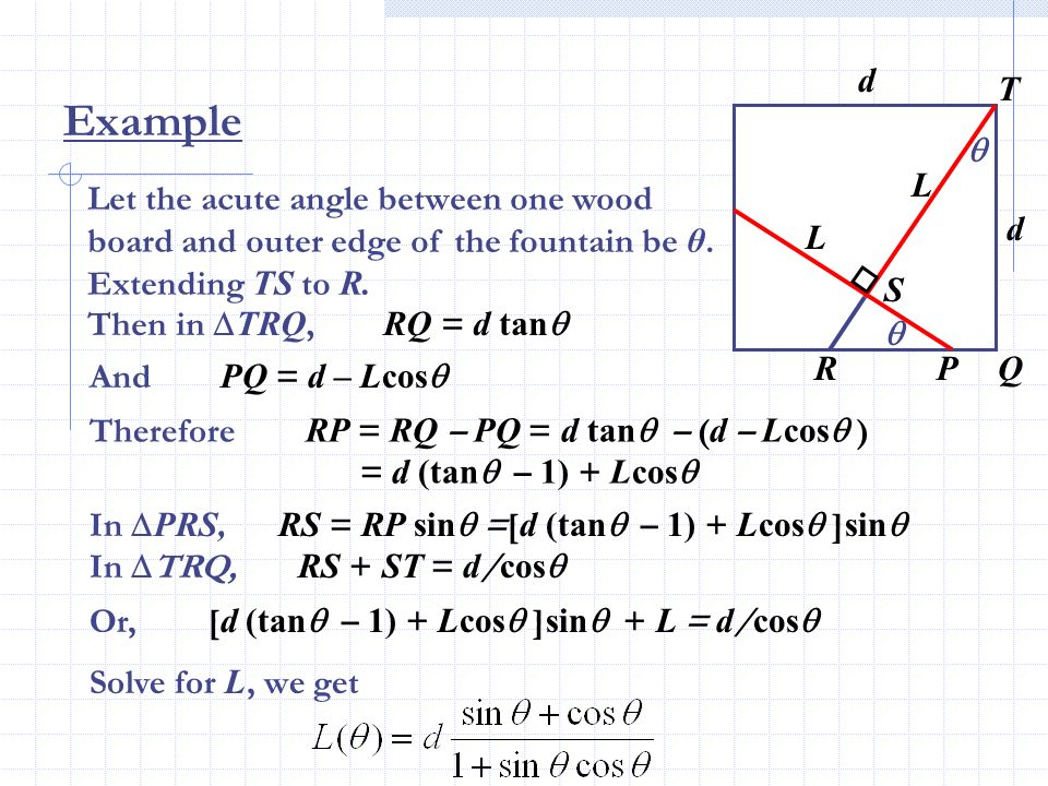 Example Let the acute angle between one wood board and outer edge of the fountain be θ. Extending TS to R. d d L L Q S T RP Then in TRQ, RQ = d tan An