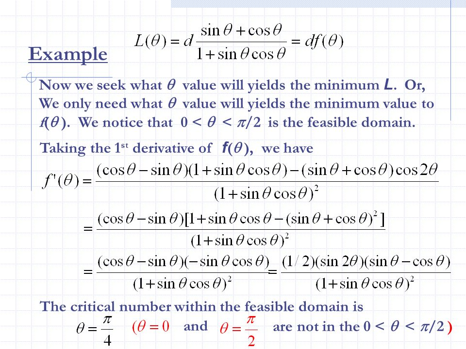 Example Now we seek what value will yields the minimum L. Or, We only need what value will yields the minimum value to f( ). We notice that 0 < < /2 i