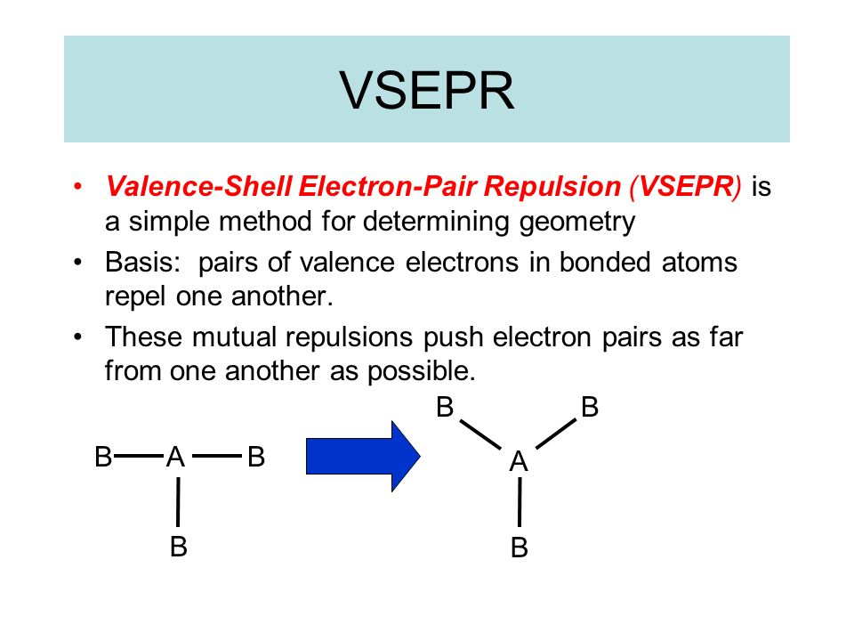 VSEPR Valence-Shell Electron-Pair Repulsion (VSEPR) is a simple method for determining geometry Basis: pairs of valence electrons in bonded atoms repe