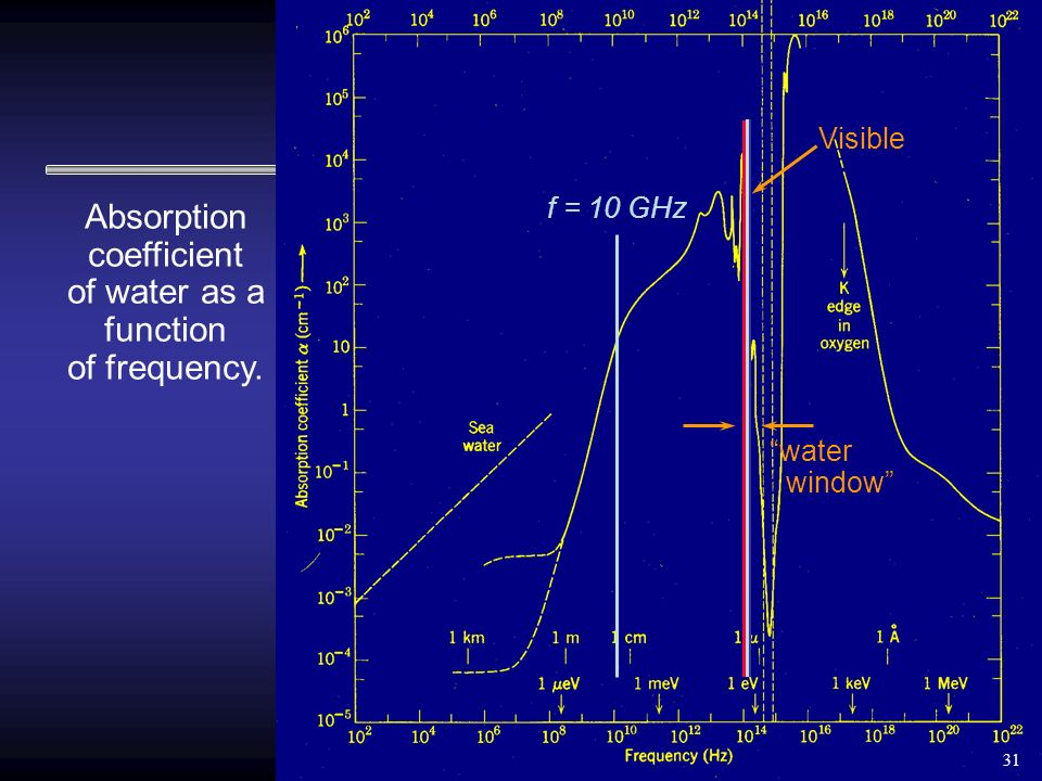 Absorption coefficient of water as a function of frequency. f = 10 GHz Visible water window 31