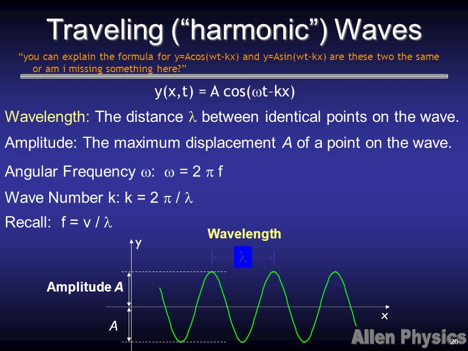 Traveling (harmonic) Waves Wavelength Wavelength: The distance between identical points on the wave. Amplitude: The maximum displacement A of a point