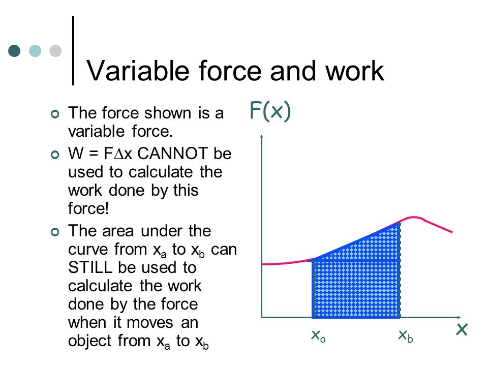 Constant force and work The force shown is a constant force. W = F x can be used to calculate the work done by this force when it moves an object from