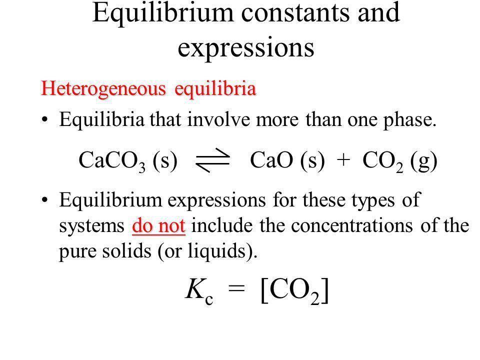 Partial pressure equilibrium constants K p = K c (RT) n g = 1.10 x 10 7 (0.08206 ) (973 K) = 1.378 x10 5 atm L mol K [ ]