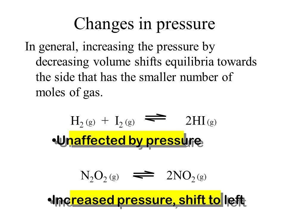 Changes in pressure Changing the pressure does not change the value of the equilibrium constant at constant temperature. Solids and liquids are not ef