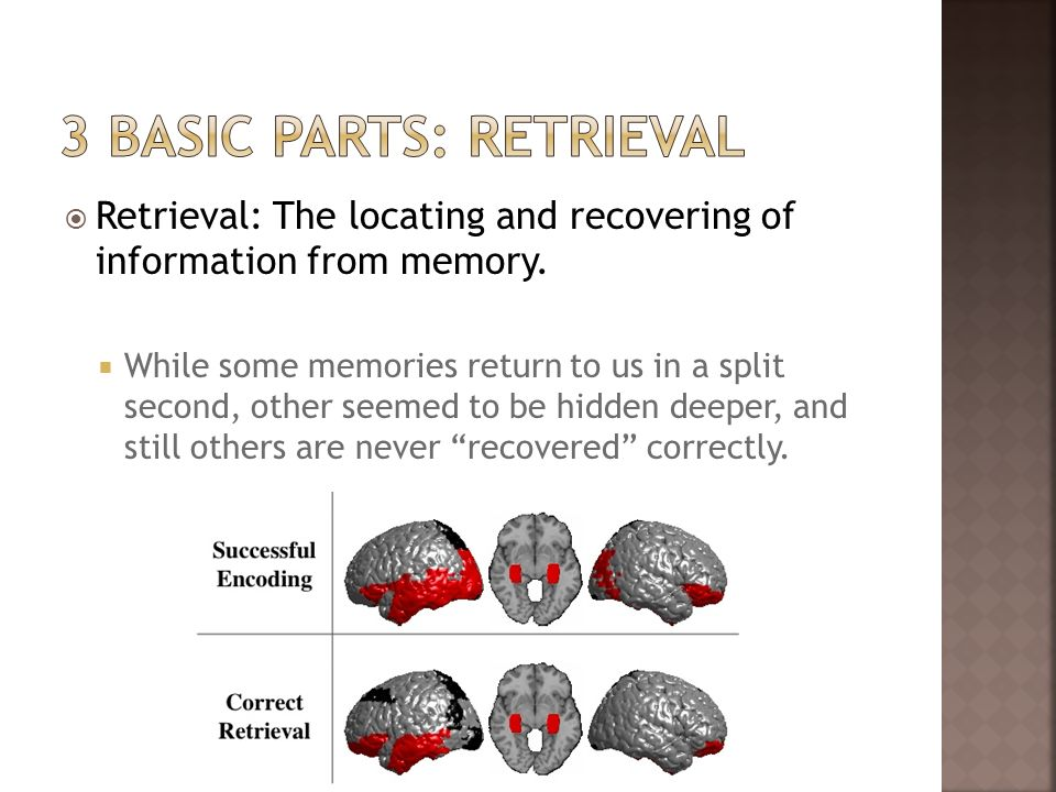 Retrieval: The locating and recovering of information from memory. While some memories return to us in a split second, other seemed to be hidden deepe
